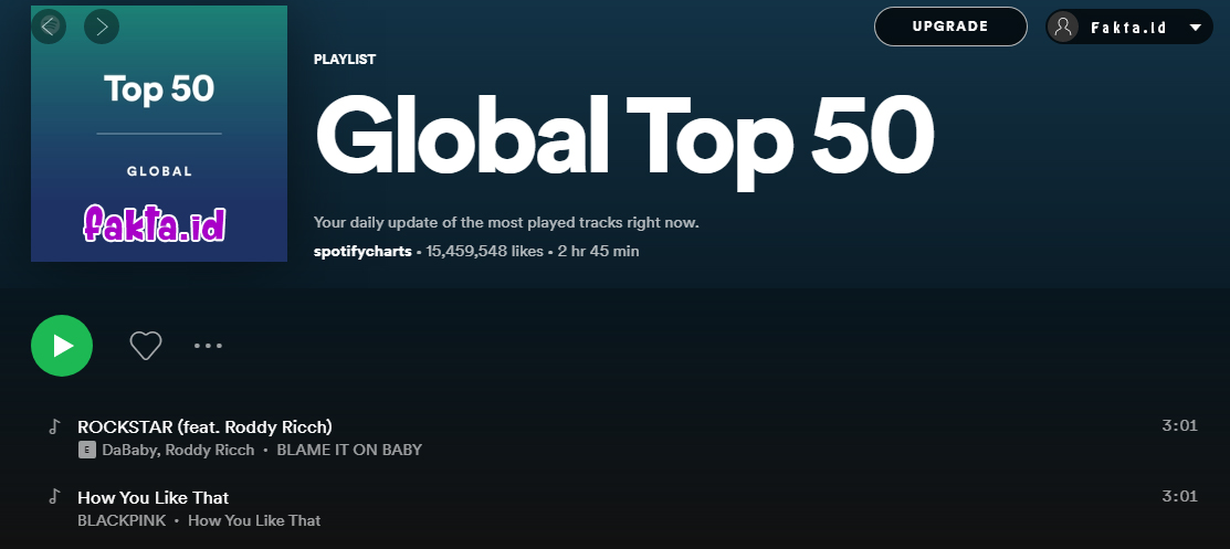 Top 50 Global Spotify Blackpink How You Like That